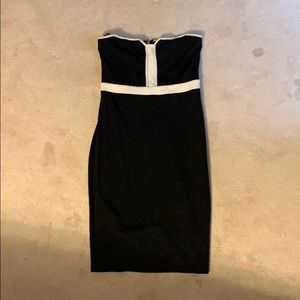 Black and white tube top dress
